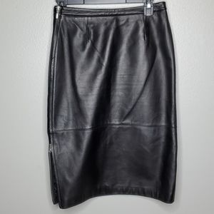 Halogen real leather pencil skirt w dual zipper 2